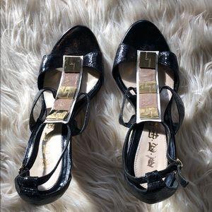 L.A.M.B. - black & gold sexy sandal heels! 🔥